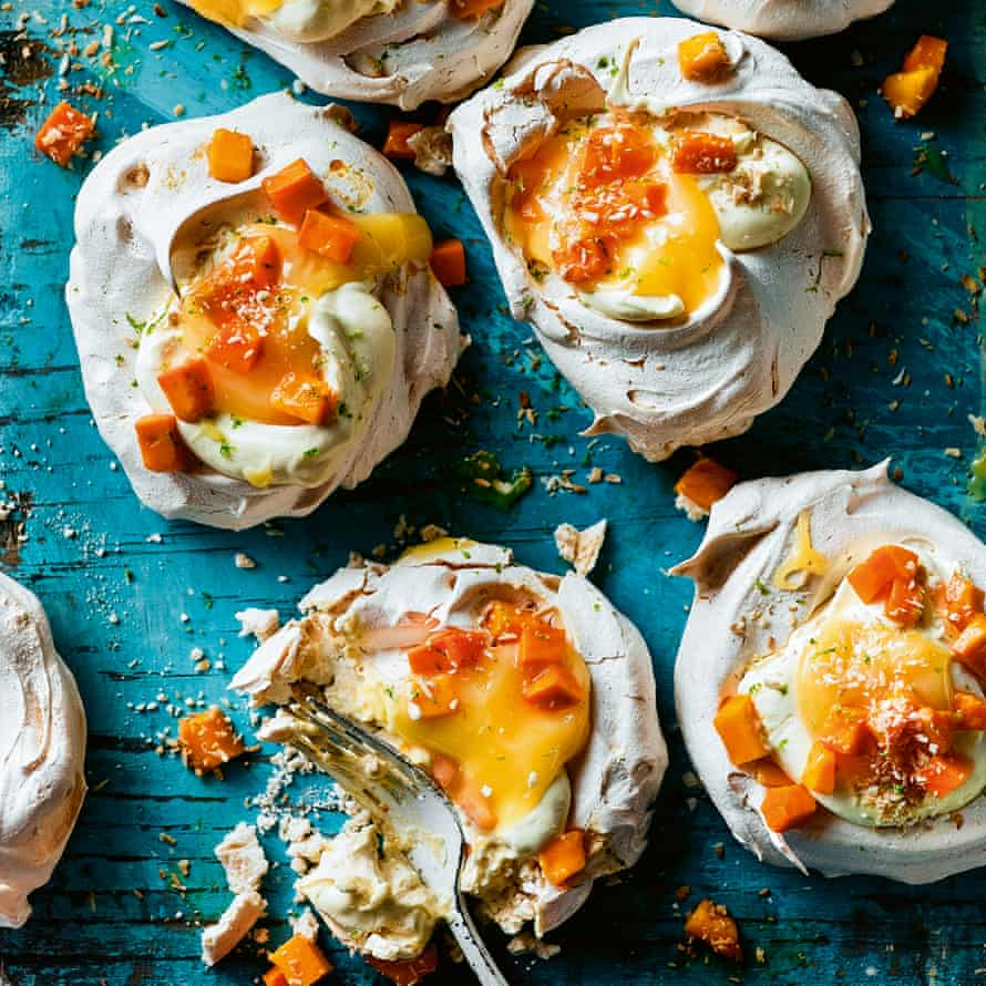 Thayet thee ohn thee mont – mango, lime and coconut meringues.