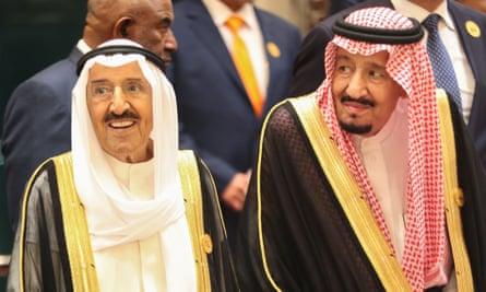 Sheikh Sabah al-Ahmad al-Sabah (left) pictured in June 2019 alongside Saudi Arabia's king, Salman bin Abdulaziz.