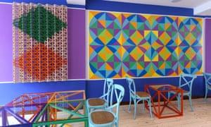 Rahseed Araeen's art at his restaurant Shamiyaana, in Stoke Newington.