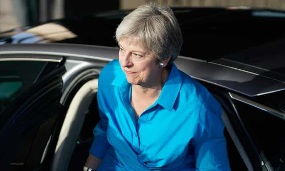 Theresa May arrives at the annual Conservative party conference in Birmingham.