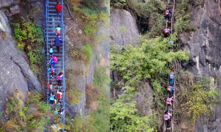 Old and new: Children climb up an 800-meter cliff on a steel ladder (now) and on a rattan ladder (before).