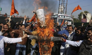 Members of India's Rajput caste group in Jammu burn an effigy of film director Sanjay Leela Bhansali in protest at the release of Padmavati.