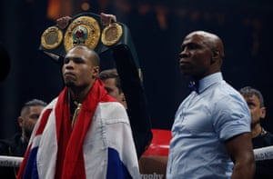 Chris Eubank Jr and his father, Chris Eubank Sr, in the ring before the fight.