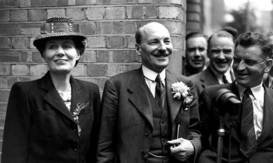 British prime minister Clement Attlee and his wife Violet after Labour's victory in the 1945 election.