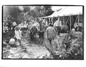 Guests dancing in a pond at a marriage