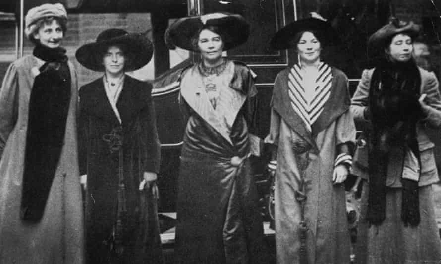 Annie Kenney (second left) with fellow suffragists.