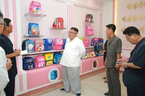 Kim inspects the Wonsan Disabled Soldiers' Bag Factory.