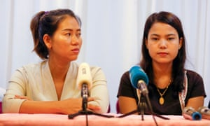 Pan Ei Mon (left) and Chit Su Win speak at a press conference in Yangon, Myanmar