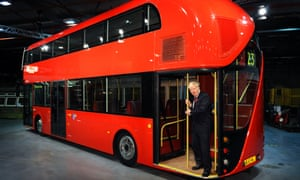 Mayor Boris Johnson unveils a life-size mock-up of the new bus for London inspired by the old Routemaster.