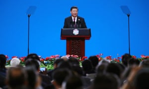 Chinese President Xi Jinping delivering a speech during the opening ceremony of the Conference on Dialogue of Asian Civilizations today.