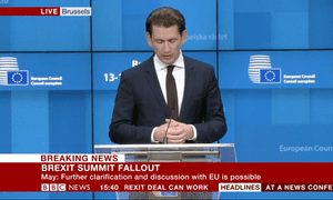The Austrian chancellor, Sebastian Kurz, speaking at a press conference in Brussels