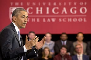Barack Obama speaks about his Supreme Court nominee Merrick Garland at the University of Chicago Law School in Chicago.