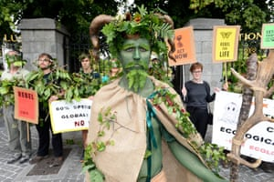 Dublin, IrelandMembers of Extinction Rebellion Ireland stage a protest outside 'Real Solutions to Ireland's Climate Emergency' Conference at the National Botanic Gardens