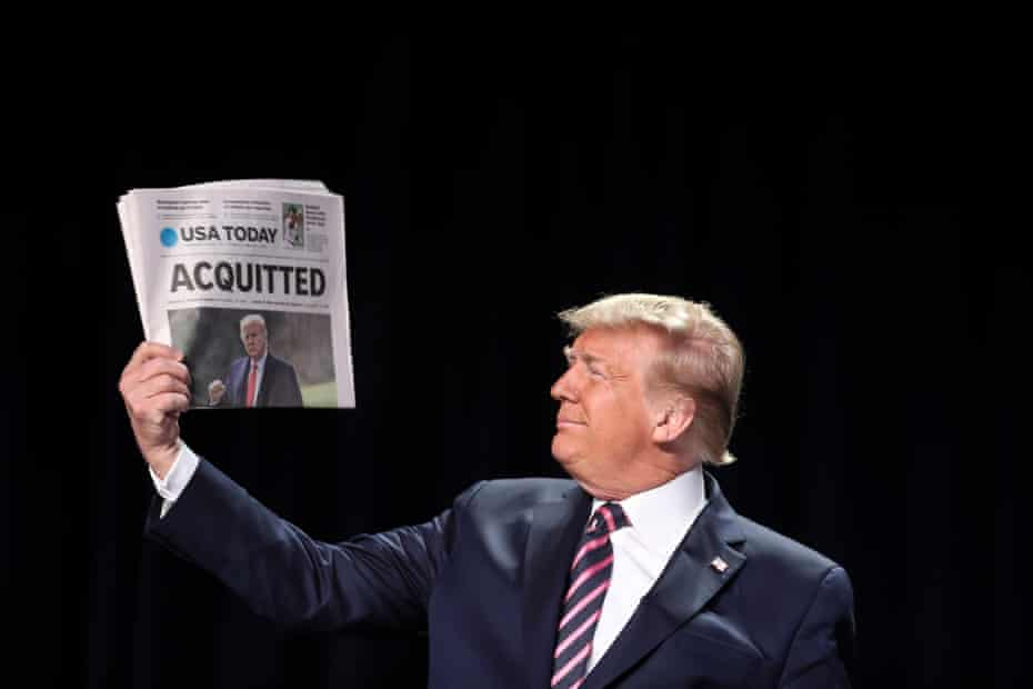 Donald J. Trump holds a copy of the USA Today newspaper fronting with his Impeachment acquittal, as he arrives to the 68th Annual National Prayer Breakfast in Washington, DC, USA, 06 February 2020.