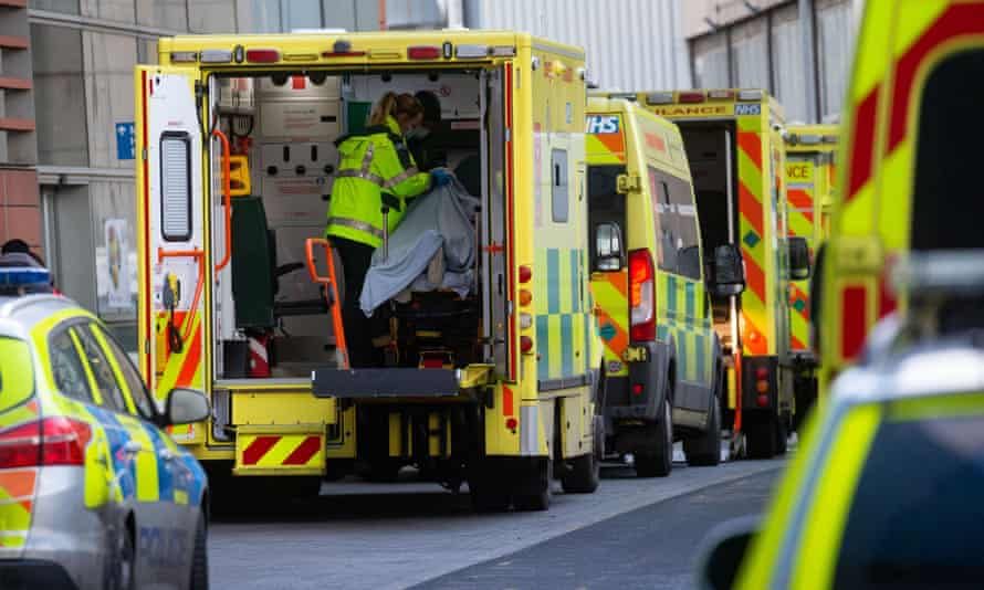 Lines of ambulances outside the Royal London hospital last week as cases of Covid-19 surge in the capital.