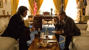 As Elvis with Kevin Spacey as Nixon in the forthcoming Elvis and Nixon.