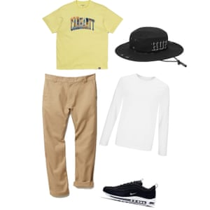 A day at the park T-shirt, £35, carhartt-wip.com, Hat, £48, Huf size.co.uk, Long sleeve, £20, johnlewis.com, Chinos, £80, napapijri.co.uk, Trainers, £144.95, nike.com