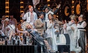 Lukhanyo Moyake (Alfredo Germont) and Claudia Boyle (Violetta Valery), centre, in La traviata at the Coliseum.