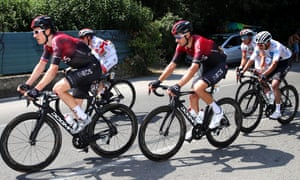 Geraint Thomas, left, suffered another crash but recovered to stay in contention to defend his title.