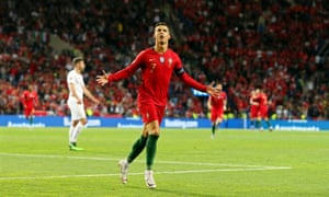 Cristiano Ronaldo celebrates scoring in the Nations League semi-final against Switzerland.