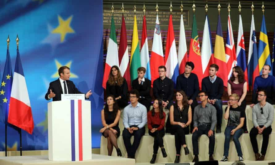 Emmanuel Macron speaks to students at Sorbonne University in Paris