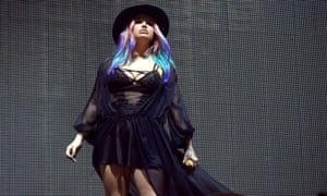 Embattled: Kesha performs with Zedd at Coachella.