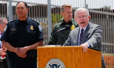 Jeff Sessions at the US-Mexico border. In April, Sessions announced a 'zero tolerance' policy for prosecutions of all illegal entry into the United States.
