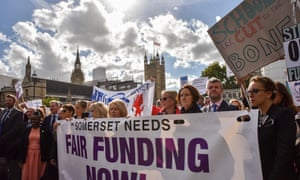 Head teachers demonstrating against education funding cuts