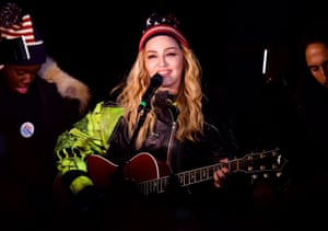 2016: Madonna performs a surprise concert at Washington Square Park in support of Hillary Clinton the night before the election