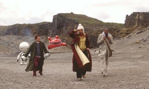 Precise nonsense (from left) Martin Freeman, Sam Rockwell and Mos Def in the 2005 film version of The Hitchhiker's Guide to the Galaxy