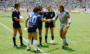 Referee Ali Nasser instructs Diego Maradona and Peter Shilton not to do anything that will be talked about for the next 34 years.