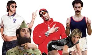 Sacha Baron Cohen, from left, in Grimsby, The Dictator, Ali G, Brüno and Borat.