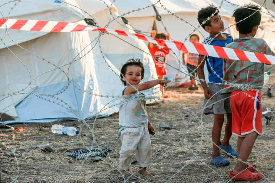 Children at a quarantine camp in the new temporary camp near Mytilene on the Greek island of Lesbos.
