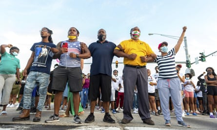 Protesters take to the street after a vigil held Saturday, in Lafayette, Louisiana, for Trayford Pellerin, who was shot and killed by Lafayette police officers on Friday night.