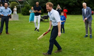 Jonathan Trott, Rio Ferdinand, Prince Harry and Iwan Thomas at the Heads Together barbecue at Kensington Palace in London