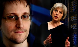 Theresa May accused Edward Snowden of damaging national security.
