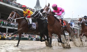 Maximum Security (right) was the first horse to cross the line at this month's Kentucky Derby