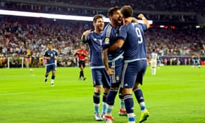 Argentina's Lionel Messi, Ezequiel Lavezzi and Gonzalo Higuain celebrate Argentina's victory over USA on Tuesday.