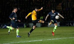 Padraig Amond pulls a goal back for Newport County.