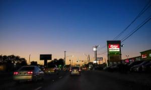 San Bernardo Avenue at dusk.
