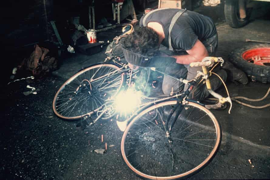 A man welds a crank near Sixt in the French Alps 1973