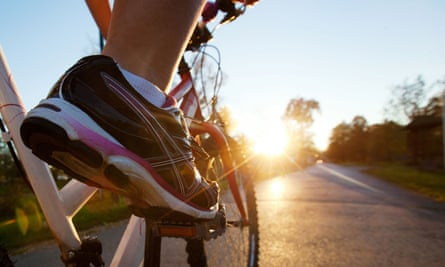 Foot on a pedal of a bicycle