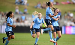 Chloe Logarzo and her Sydney FC teammates celebrate a goal