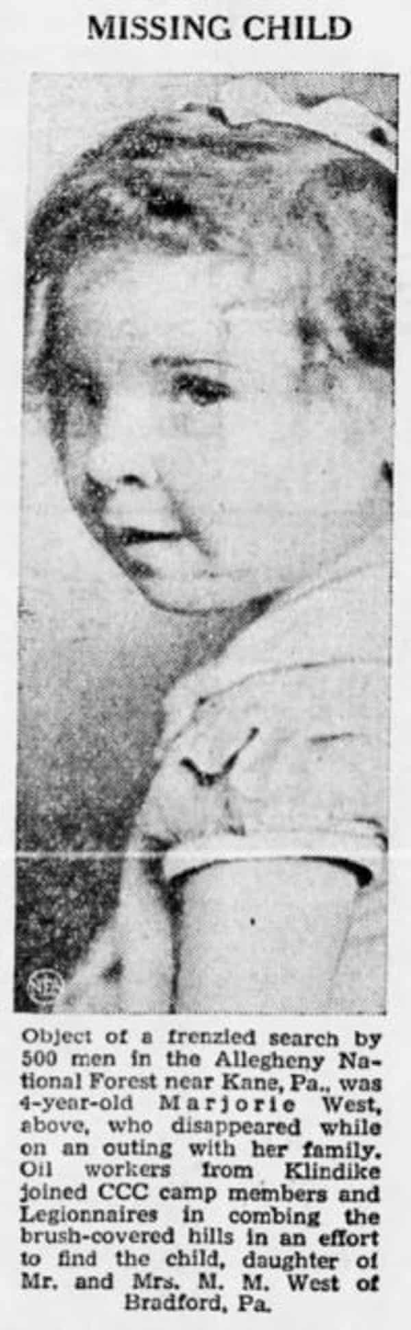 Newspaper report on Marjorie West's disappearance.