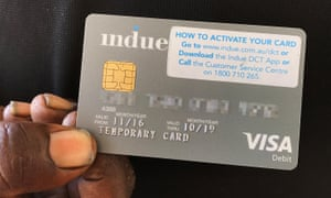 A cashless welfare card, or 'indue card', which is being trailed in Australia as part of efforts to curb the devastating impact of alcohol and gambling on communities.