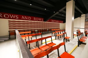 A few of the original wooden seats from the Main Stand are on display inside the concourse of the newly rebuilt stand