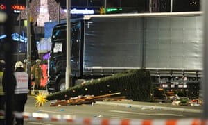 The truck that crashed into a Christmas market at Gedächtniskirche in Berlin.