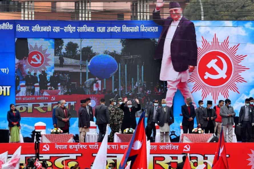 Prime Minister KP Sharma Oli addresses a rally in Kathmandu