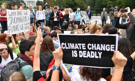 Teenagers and students take part in a climate protest outside the White House in Washington on 13 September 2019.