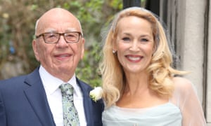 Rupert Murdoch and Jerry Hall on their wedding day in 2016.